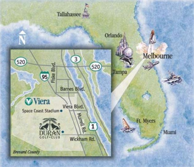 Map showing a few cross-streets nefap Duran Golf Club in Melbourne Florida